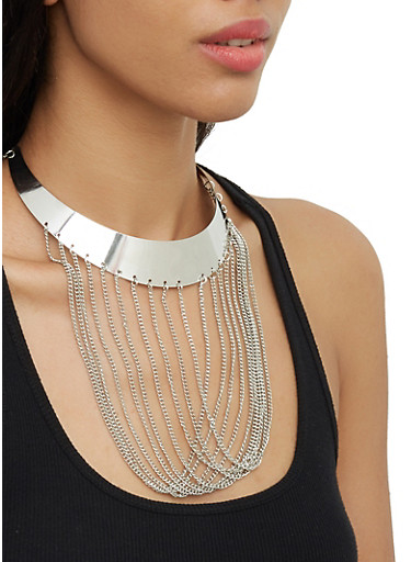 Chain Fringe Collar Necklace with Stud Earrings,SILVER,large