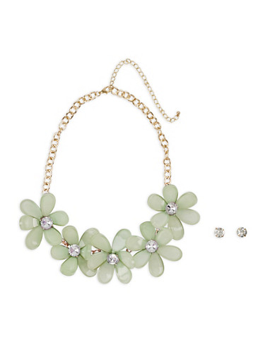 Rhinestone Flower Statement Necklace with Earrings,GREEN,large