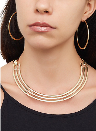 Cut Out Collar Necklace and Bracelet with Hoop Earrings,GOLD,large