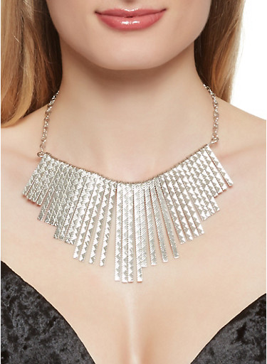 Stick Fringe Necklace with Earrings and Bangles,SILVER,large