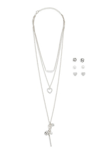 Rhinestone Charm Necklace with Stud Earrings Trio | Tuggl