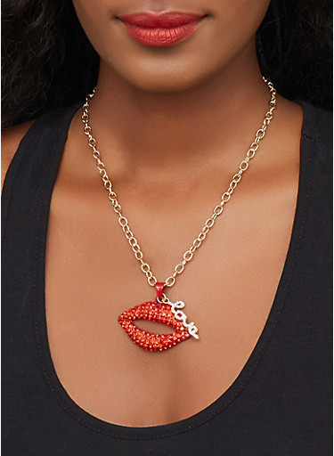 Rhinestone Lip Charm Necklace with Stud Earrings Set,RED,large