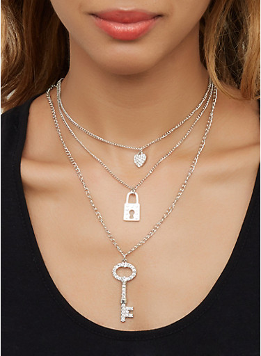 Rhinestone Lock Charm Necklace with Hoop Earrings,SILVER,large