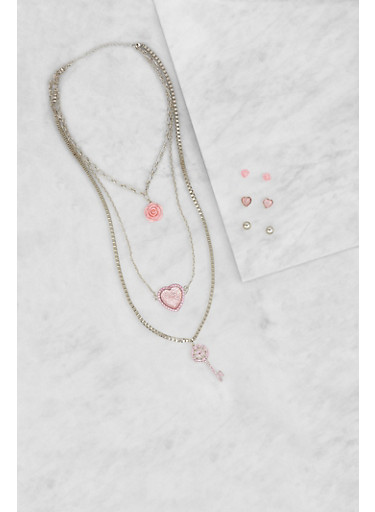Layered Charm Necklace and Earrings Set,SILVER,large