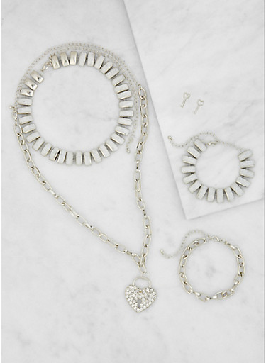 Metallic Necklaces and Bracelets with Stud Earrings,SILVER,large