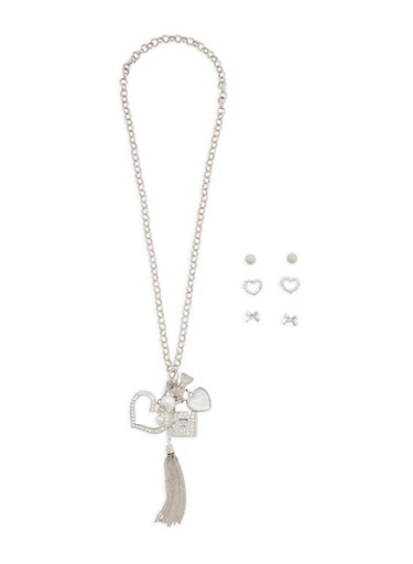 Rhinestone Charm Necklace with Stud Earrings | Tuggl