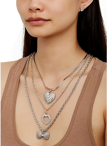 Bow Chain Layered Charm Necklace with Earrings,SILVER,large