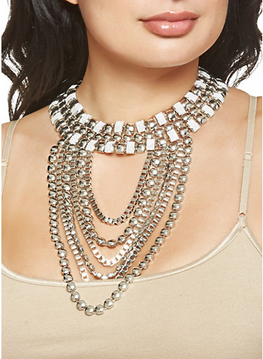 Multi Chain Glitter Necklace with Earrings Set,SILVER,large