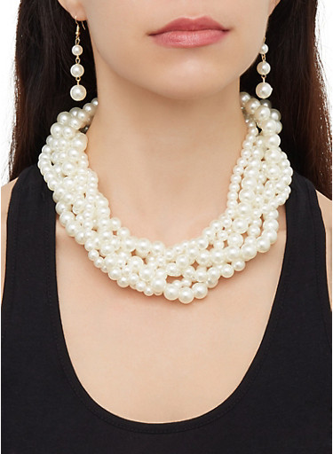 Twisted Faux Pearl Necklace and Drop Earrings,IVORY,large