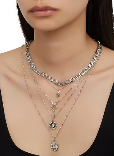 Mixed Chain Charm Necklace and Stud Earrings,SILVER,large