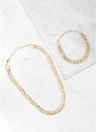 Chain Necklace and Bracelet Set,GOLD,large