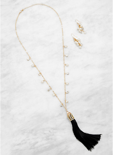 Faux Pearl Tassel Necklace and Earrings Set,BLACK,large
