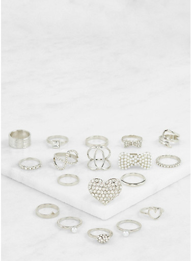 Assorted Faux Pearl Metallic Rings Set,SILVER,large