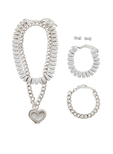 Glitter Chain Necklaces with Bracelets and Stud Earrings | Tuggl