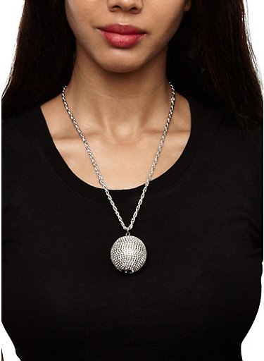 Ball Necklace Duo with Stud Earrings,SILVER,large