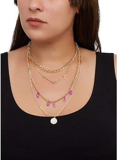 Queen Layered Chain Necklace with Stud Earrings,FUCHSIA,large