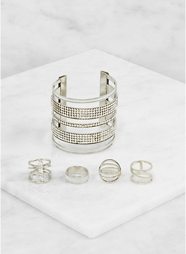 Cuff Bracelet with Assorted Rings Set,SILVER,large