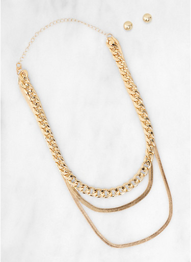 Layered Chain Collar Necklace with Stud Earrings,GOLD,large