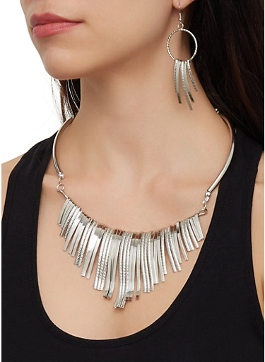 Stick Collar Necklace and Earrings,SILVER,large