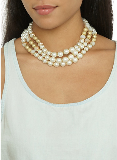 Faux Pearl Beaded Collar Necklace and Earrings,IVORY,large