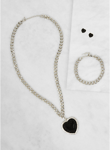 Heart Chain Necklace with Bracelet and Earrings Set,SILVER,large