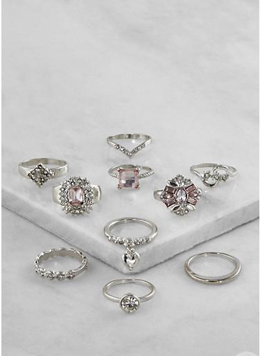 Assorted Metallic Rings Set,SILVER,large