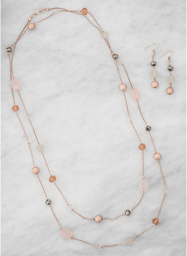 Beaded Necklace with Matching Drop Earrings,BLUSH,large