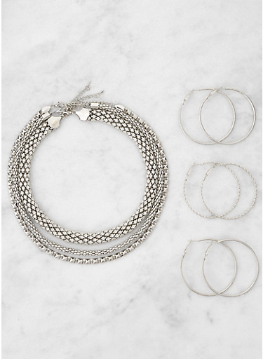 Metallic Necklace Trio with Hoop Earrings,SILVER,large