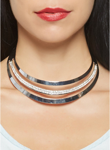Rhinestone Cut Out Collar Necklace with Bangles and Hoop Earrings,SILVER,large