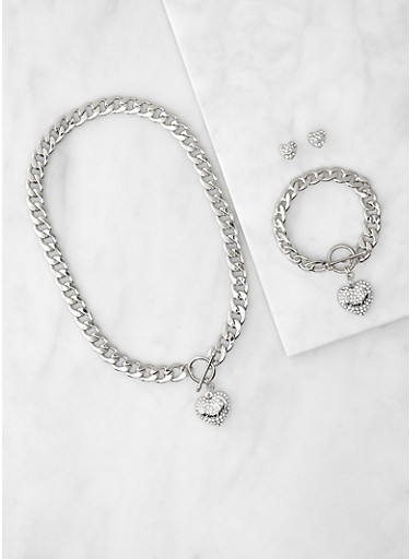 I Love You Curb Chain Necklace and Bracelet with Stud Earrings,SILVER,large