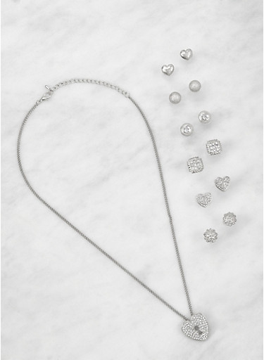 Heart Necklace with Assorted Stud Earrings,SILVER,large