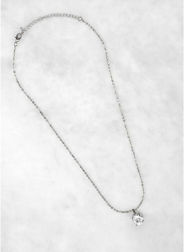 Round Rhinestone Charm Necklace,SILVER,large