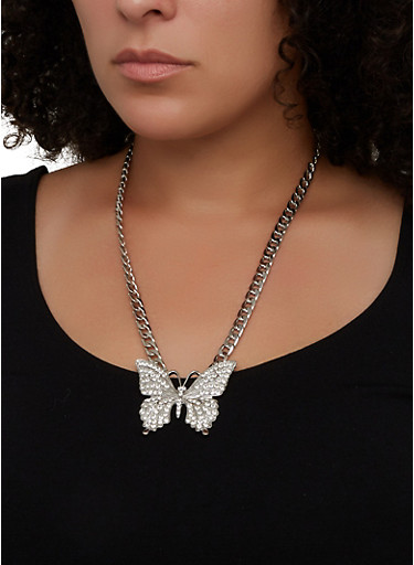Rhinestone Butterfly Collar Necklace and Stud Earrings Set,SILVER,large