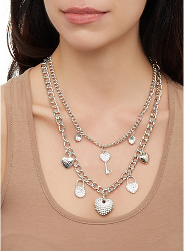 Lock Charm Layered Necklace and Bracelet with Stud Earrings,SILVER,large