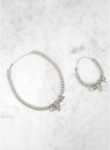 Multi Charm Curb Chain Necklace and Bracelet with Earrings,SILVER,large