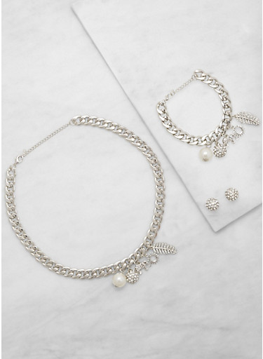 Charm Chain Necklace and Bracelet with Stud Earrings,SILVER,large