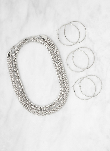 Metallic Necklaces and Hoop Earring Trio,SILVER,large