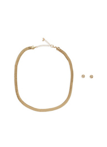 Flat Chain Metallic Necklace with Earrings,GOLD,large