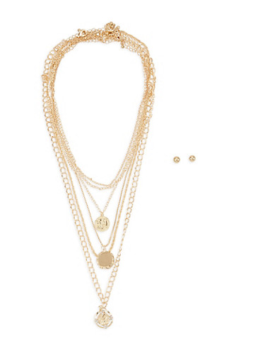 Charm Necklace Set with Stud Earrings,GOLD,large