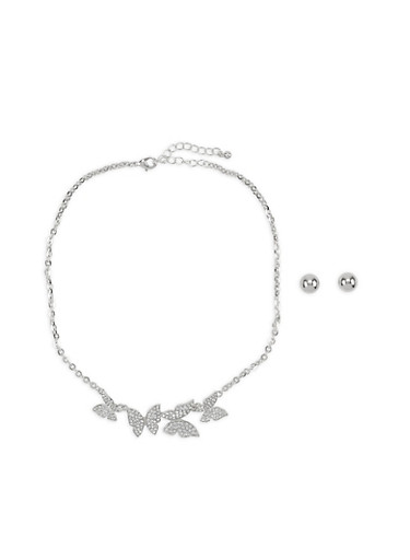 Rhinestone Butterfly Necklace with Stud Earrings,SILVER,large