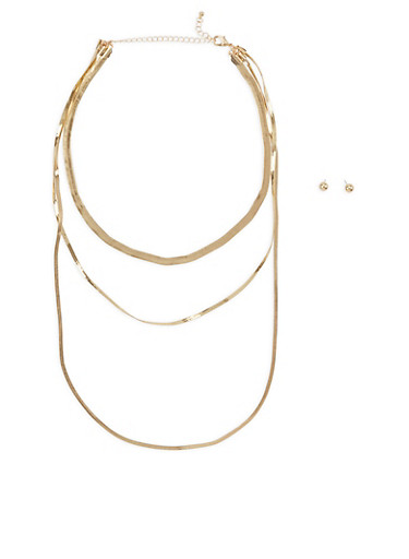 Flat Metallic Layered Necklace with Earrings,GOLD,large
