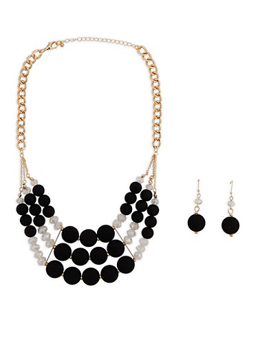 Beaded Statement Necklace with Drop Earrings,BLACK,large