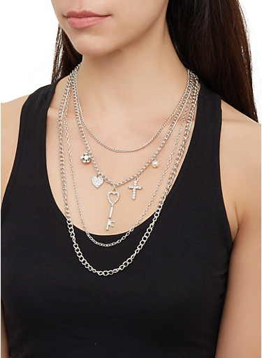 Key Charm Layered Necklace with Earrings,SILVER,large