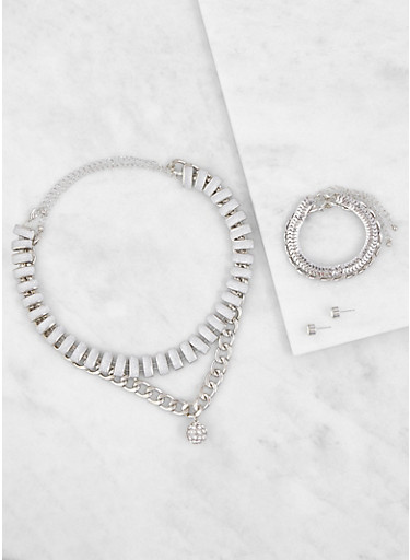 Metallic Necklaces and Bracelets with Earrings,SILVER,large