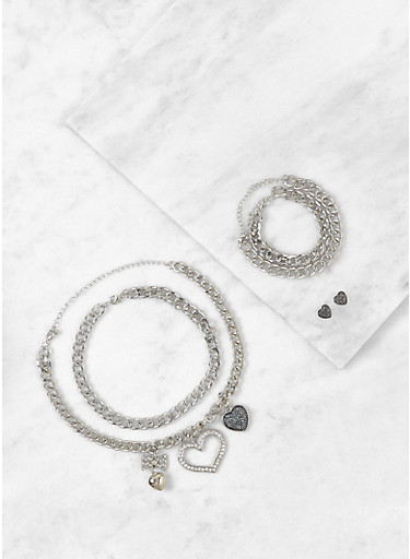 Set of 2 Heart Charm Necklaces with Earrings and Bracelets,SILVER,large