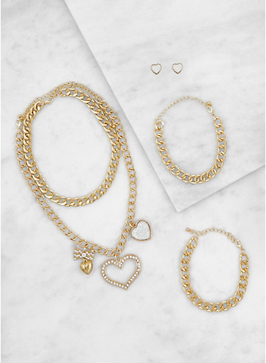 Set of 2 Heart Charm Necklaces with Earrings and Bracelets,GOLD,large