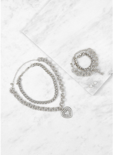 Assorted Chain Necklaces with Bracelets and Earrings,SILVER,large
