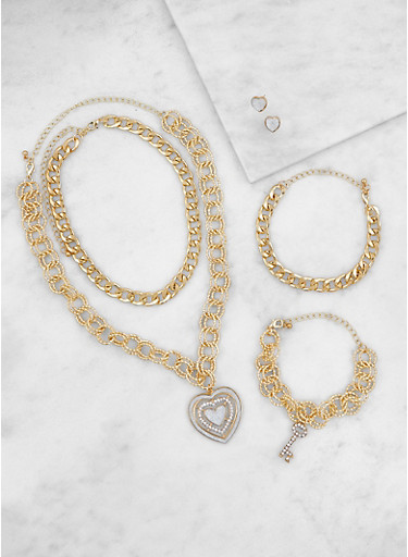 Assorted Chain Necklaces with Bracelets and Earrings,GOLD,large