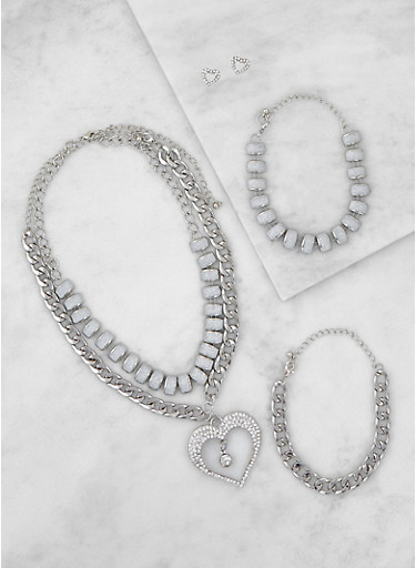Glitter Chain Necklaces with Bracelets and Stud Earrings,SILVER,large
