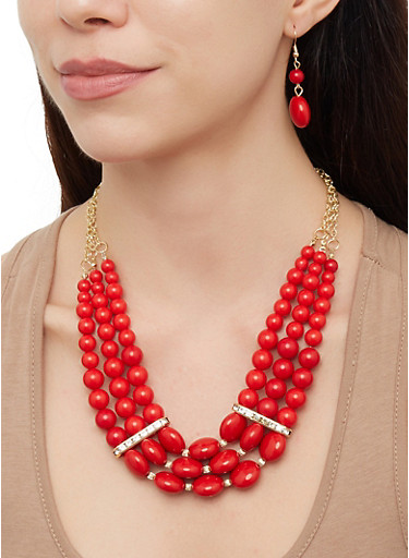 Beaded Necklace with Stretch Bracelets and Drop Earrings,RED,large